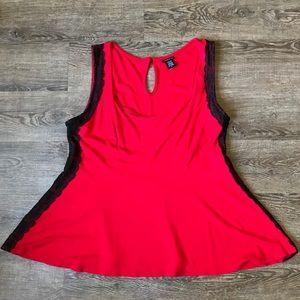 TORRID Red Black lace trim peplum tank top